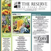 The Reserve at Rivington April 2018 Newsletter